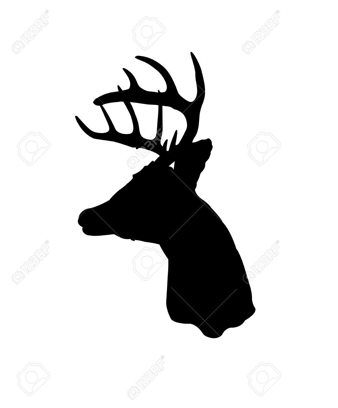 Fekete Sziluett A Whitetail Szarvas Clip Art Royalty Free Clip.