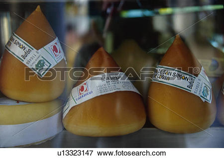 Picture of Tete de moine cheese, northern spain u13323147.
