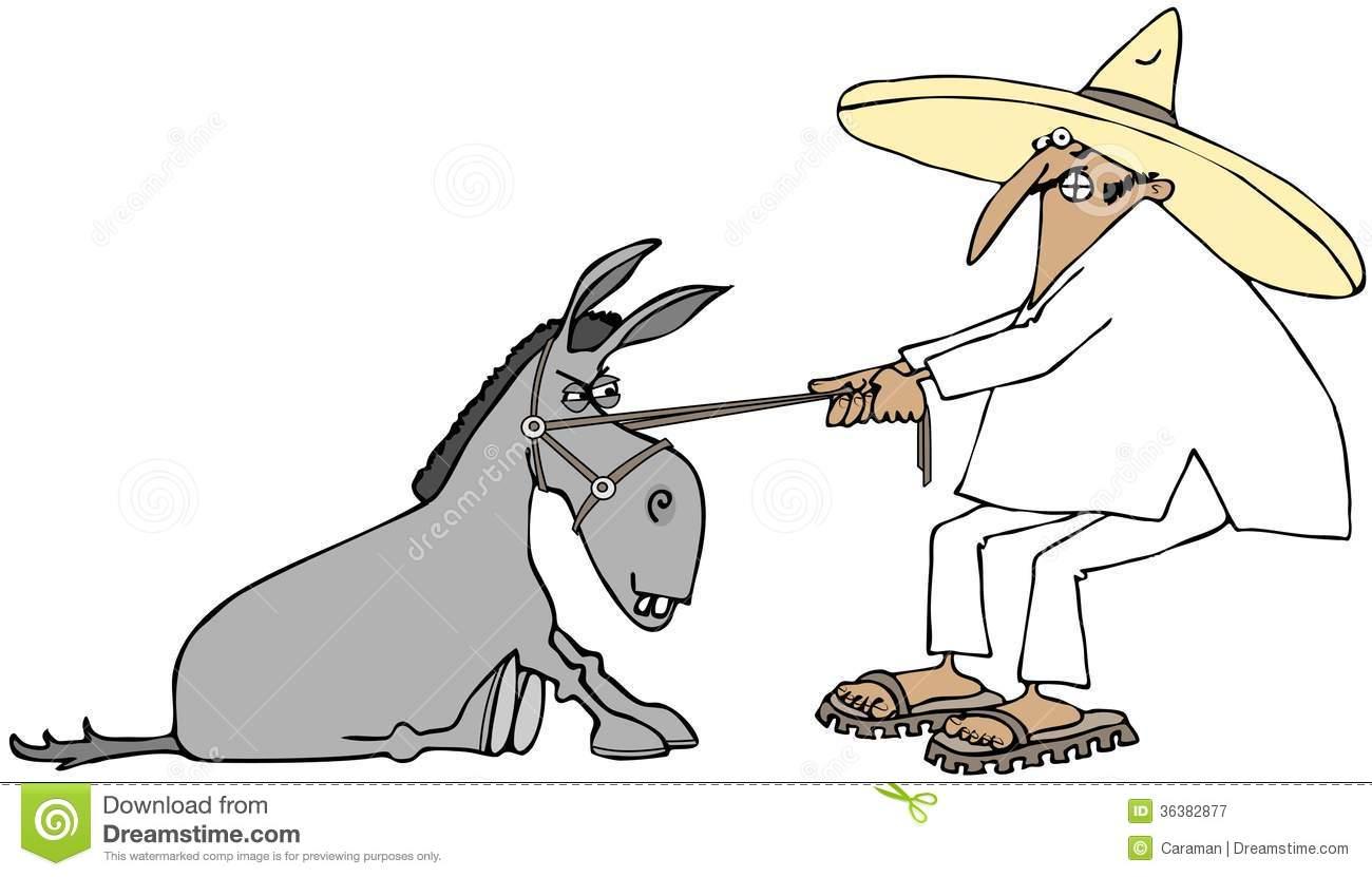 Mexicain Tirant Un âne Têtu Photographie stock libre de droits.