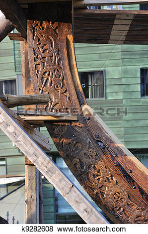 Pictures of Detail of a viking ship, Tonsberg, Norway k9282608.