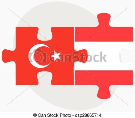Vektor Clip Art von Türkei, puzzel, Flaggen, österreich.