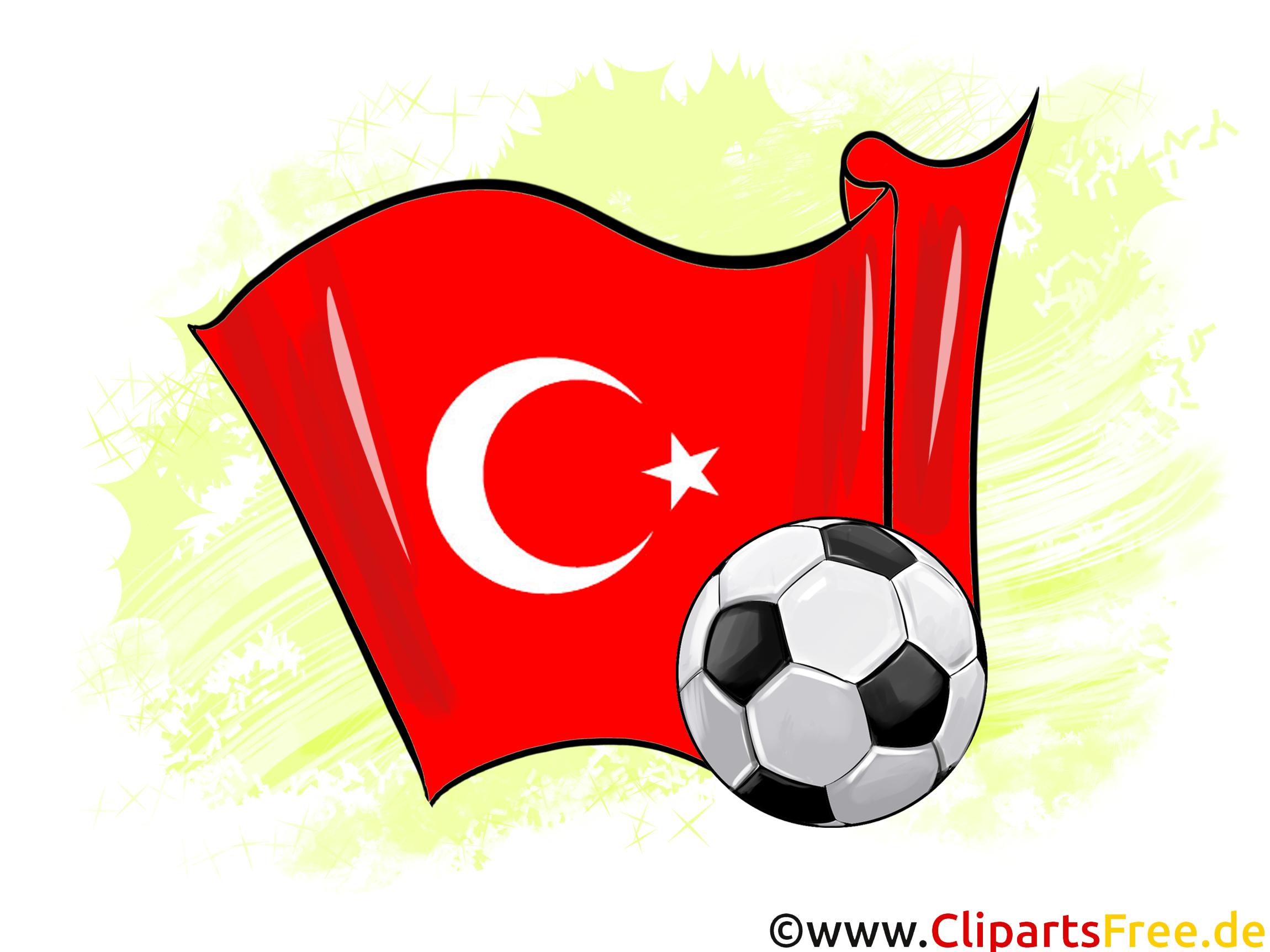 Türkei Fußball Ball mit Fahne im Hintergrund Clipart.