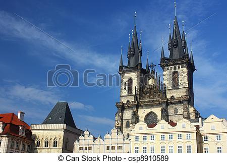 Stock Photographs of Prague Tyn Church.