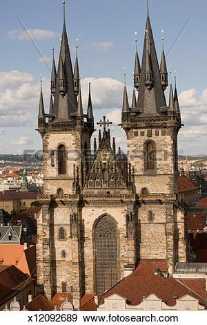 Stock Photograph of Facade of a church, Tyn Church, Prague, Czech.