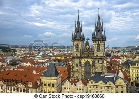 Stock Image of Tyn Church in Prague in a cloudy day.