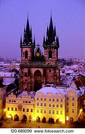 Stock Photograph of Tyn church, Prague. Czech Republic f20.