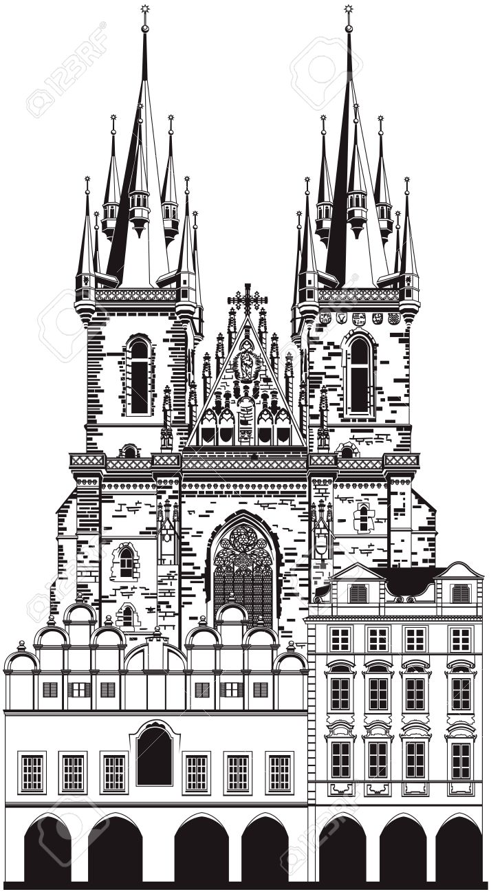 Church Of Our Lady Before Tyn, Prague Royalty Free Cliparts.
