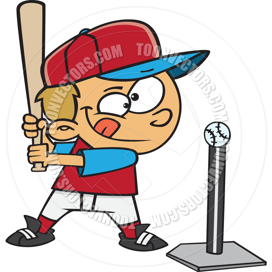 Cartoon Boy Baseball Player Hitting Tee Ball By Ron.