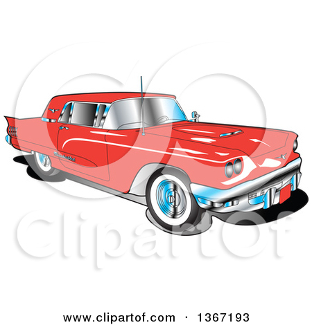 Clipart of a Retro Vintage 1960 Red Ford Thunderbird Car.