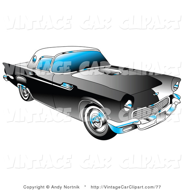 Clipart of a Black 1955 Ford Thunderbird Car with a White.
