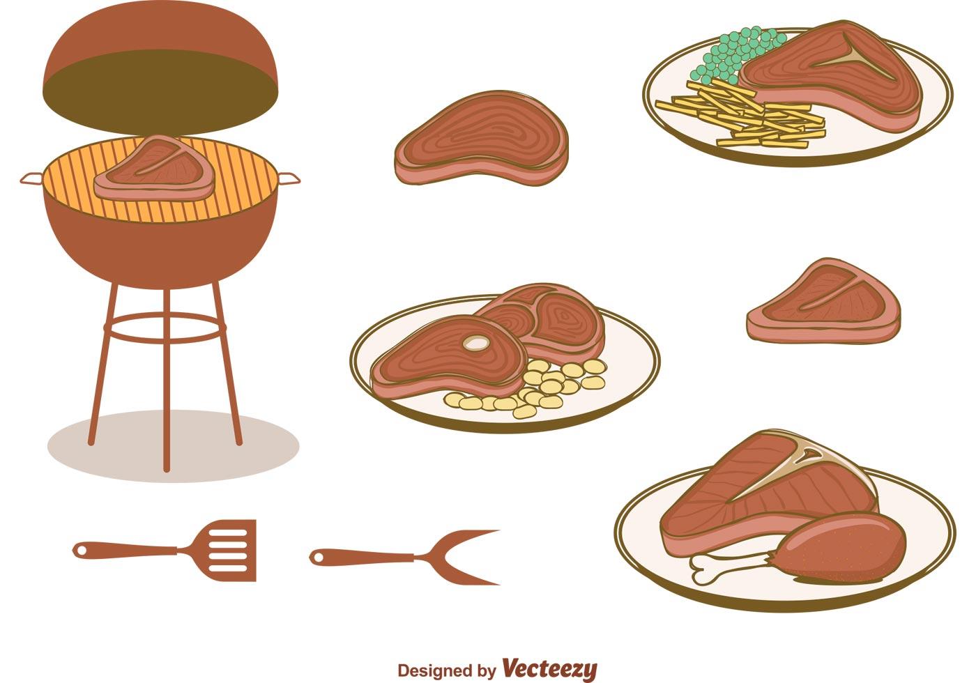 T Bone Steak Free Vector Art.
