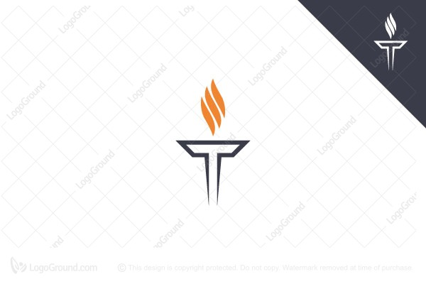 Exclusive Logo 189961, Torch Letter T Logo.