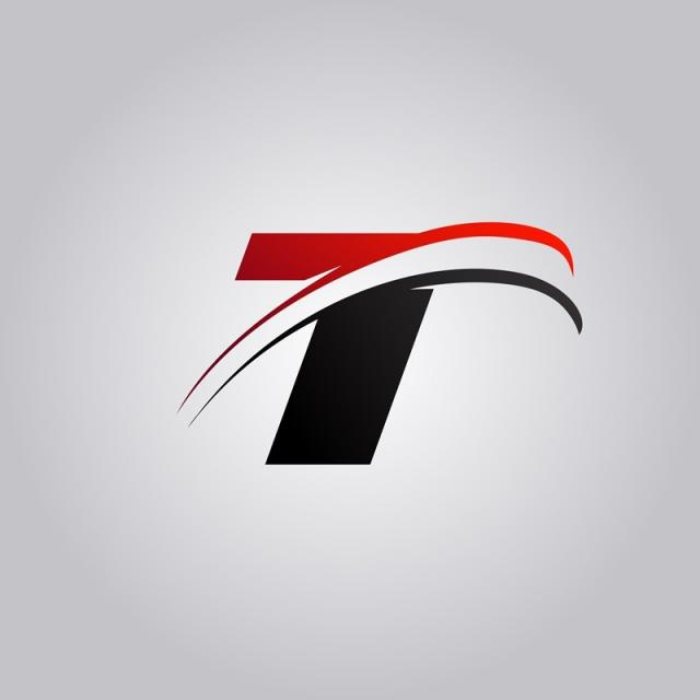 Initial T Letter Logo With Swoosh Colored Red And Black.