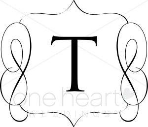 Classic Monogram T Clipart.