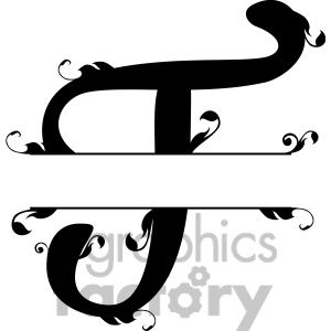 split regal t monogram vector design clipart. Royalty.