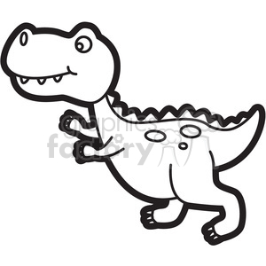 trex dinosaur cartoon in black and white clipart. Royalty.