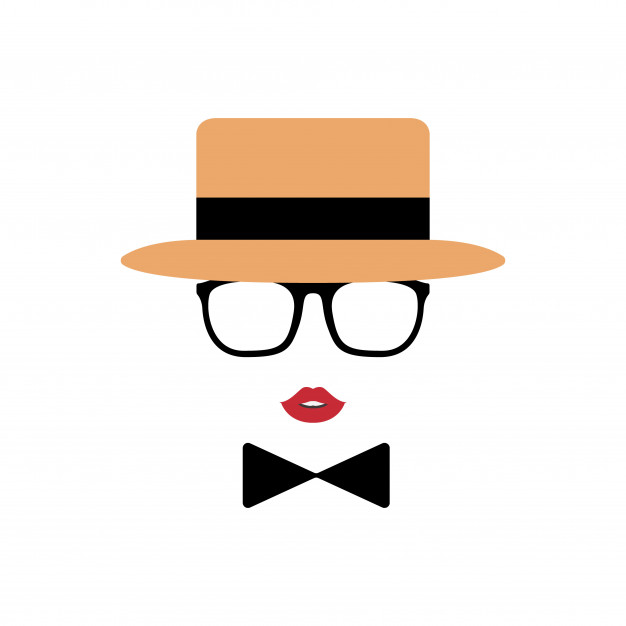 Lady avatar in hat, lips, glasses and a bow tie. Vector.