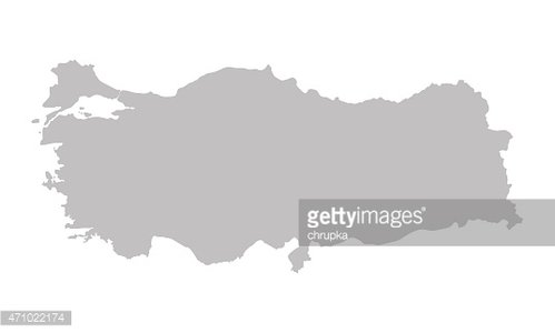 grey map of Turkey Clipart Image.