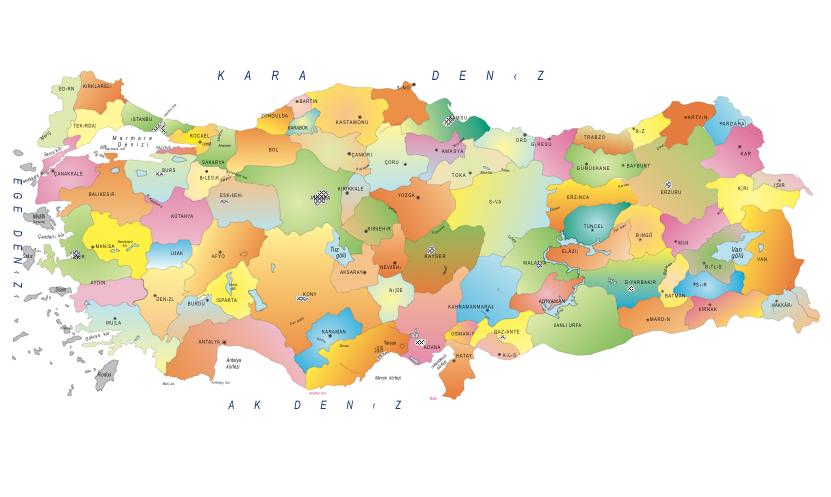 Vektörel Türkiye Haritası.