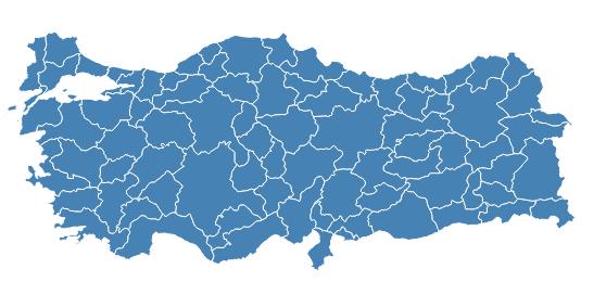 Türkiye İlçeler Haritası Verileri.