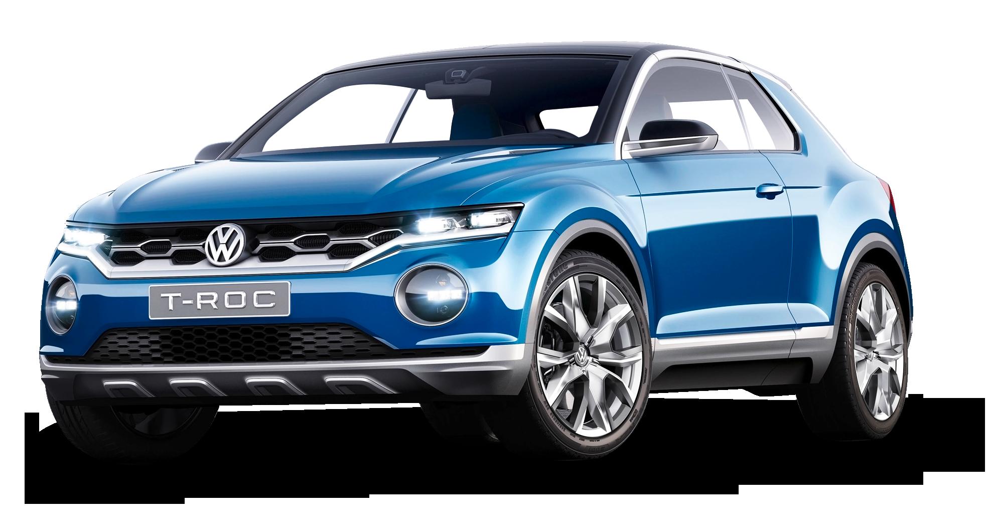 Blue Volkswagen T Roc Car PNG Image.