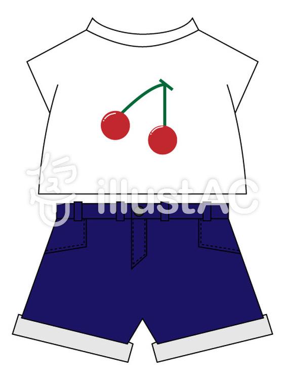 Cherries pattern navy short pants.