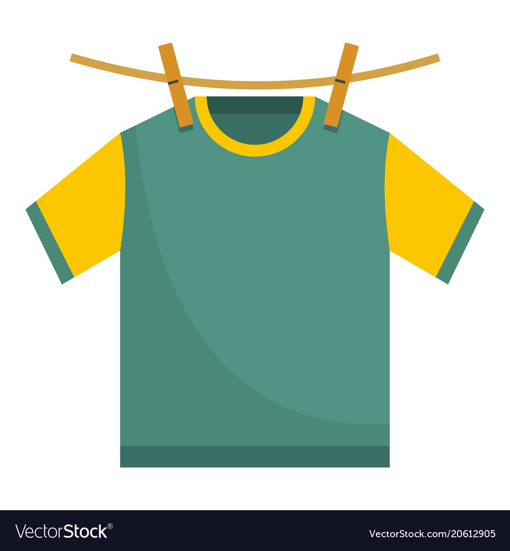 Hanging t shirt icon flat style.