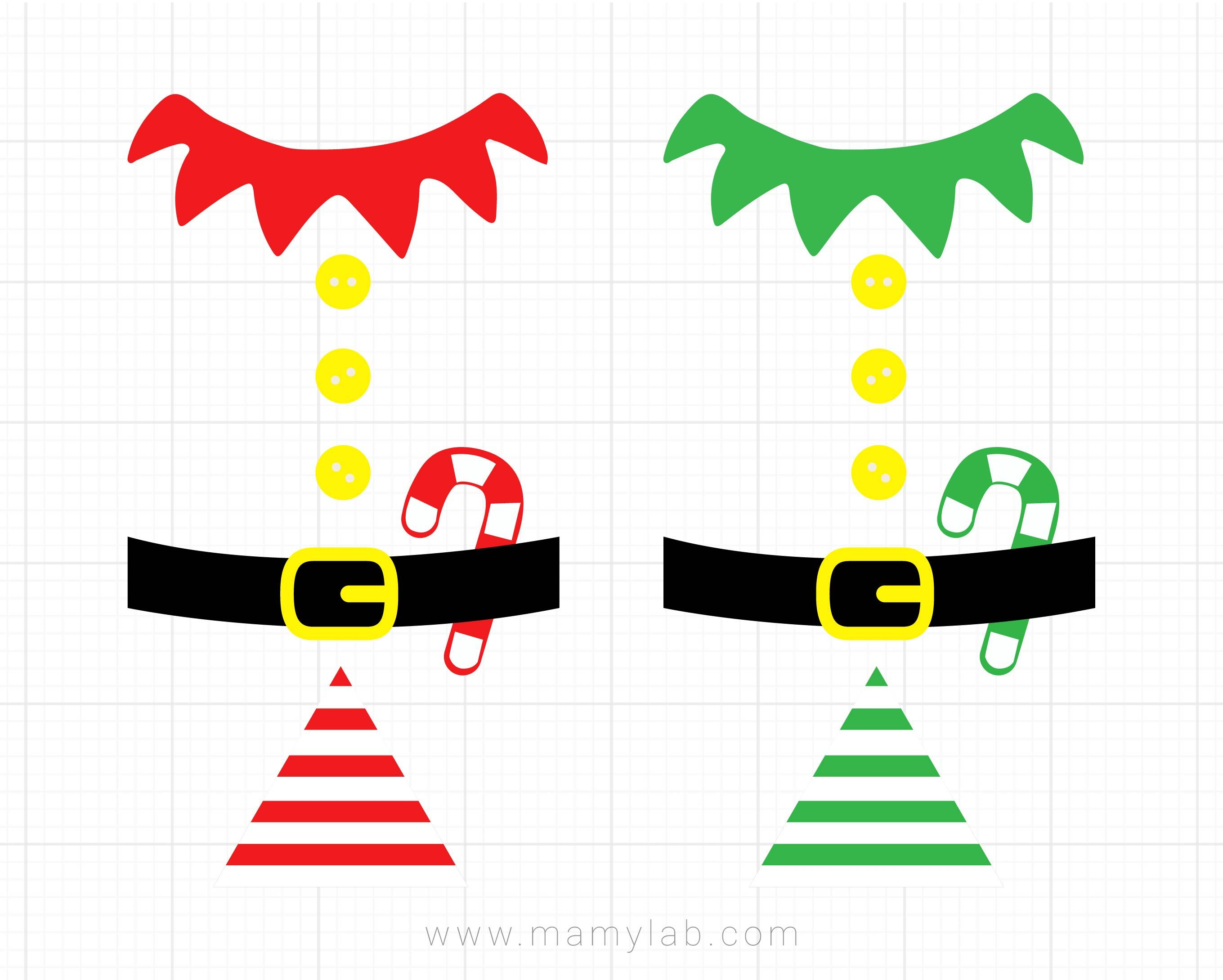 Christmas Elf Costume Svg Clipart, Elf Suit Cutting File, Elf Outfit Svg,  Christmas SVG, DXF, Elf T.