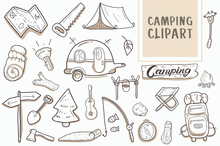 Camping Clipart Icons Set Bundle hand drawn Vector t shirt design.