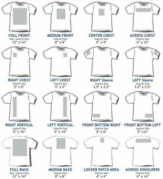 T shirt sizing guide.