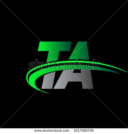 initial letter TA logotype company name colored green and.