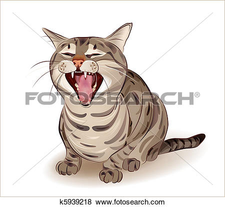 Clip Art of Yelling tabby cat k5939218.