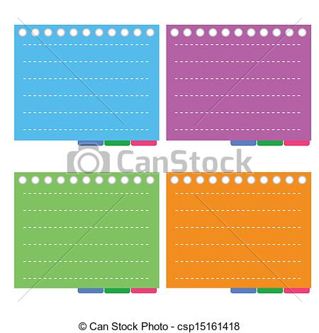 Vector Clip Art of Four Color of Lined Spiral Notepad Papers with.