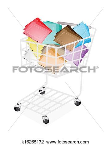 Clipart of Nine Colors of Tabbed Folder in Shopping Cart k16265172.