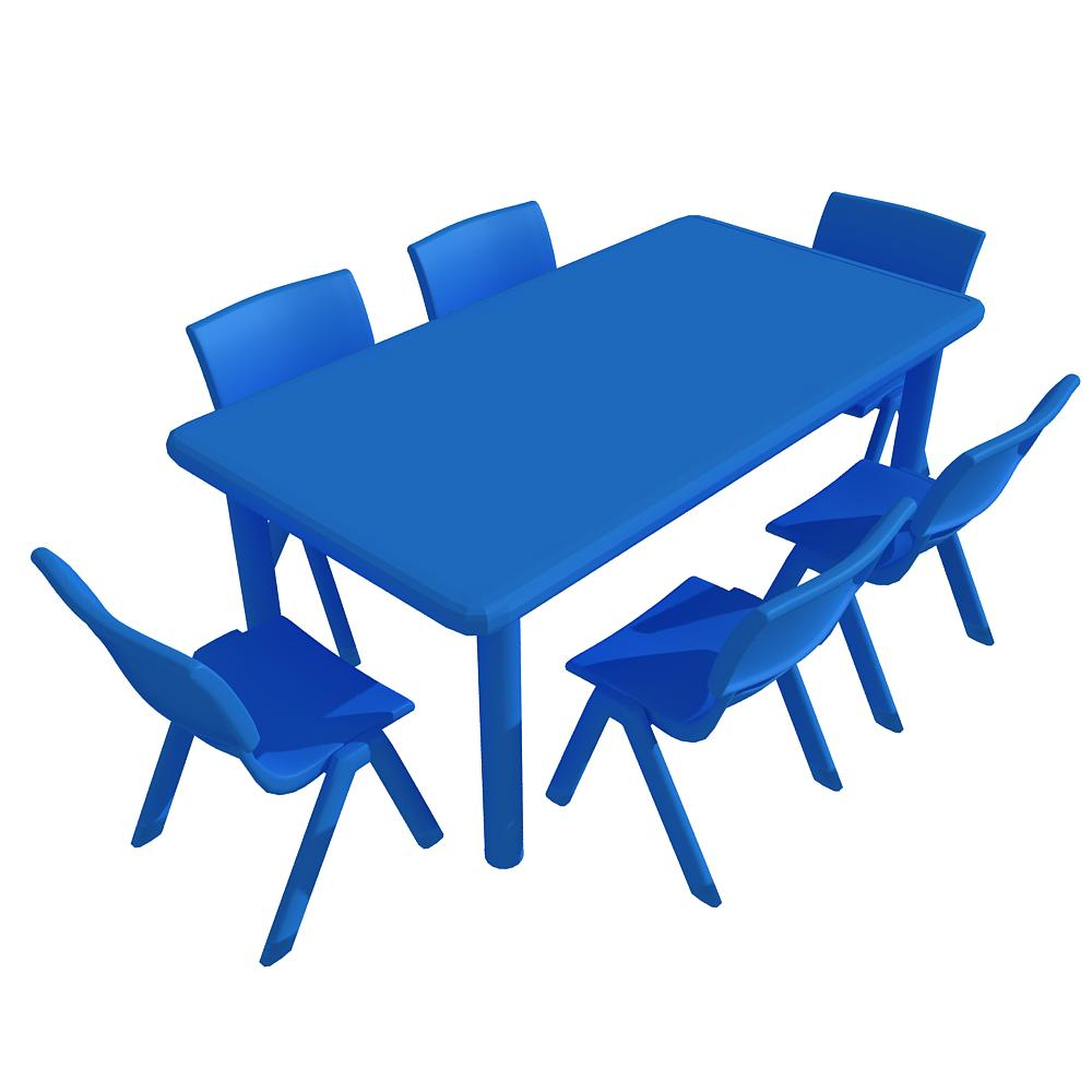 Rectangular Plastic Table (Blue, Pink and Green) rental in.