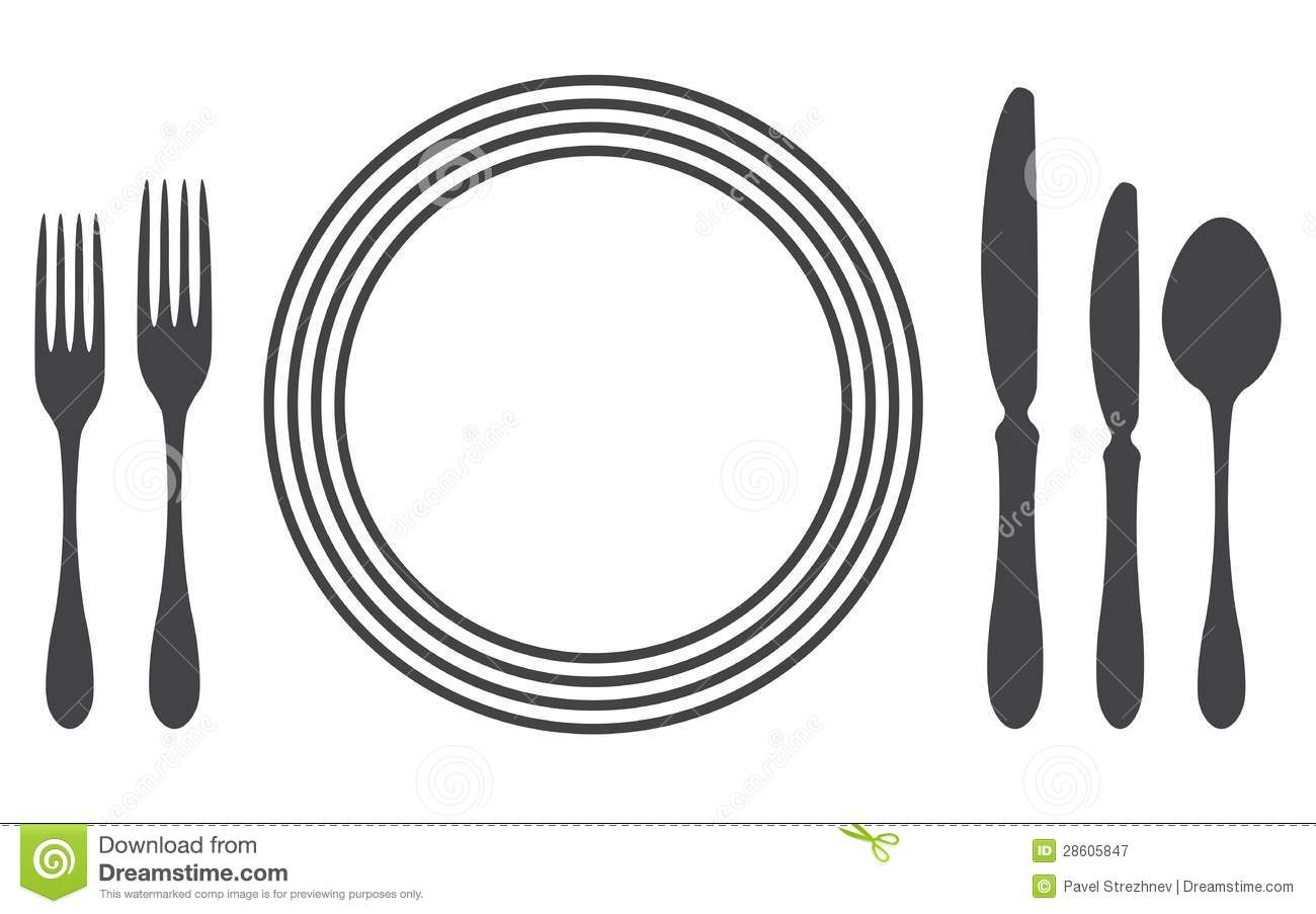 Dinner table setting clipart vector.