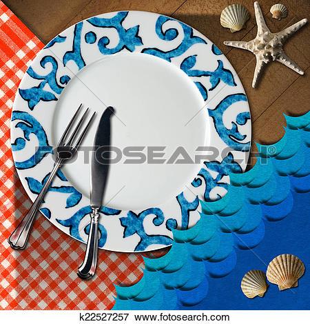 Stock Illustration of Table Arrangement for Seafood Menu k22527257.