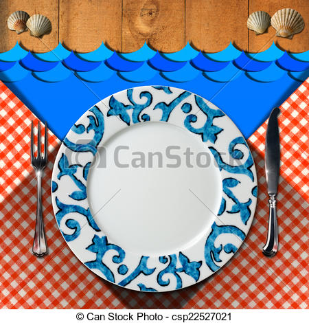 Clip Art of Table Arrangement for Seafood Menu.