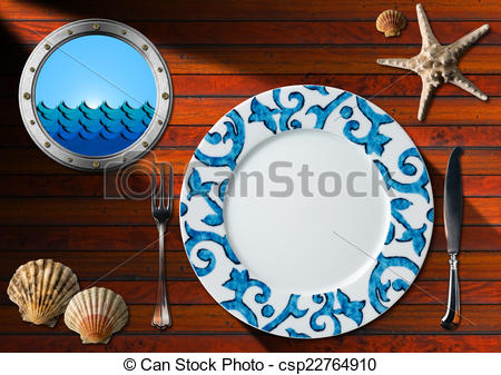 Clipart of Table Arrangement for Seafood Menu.