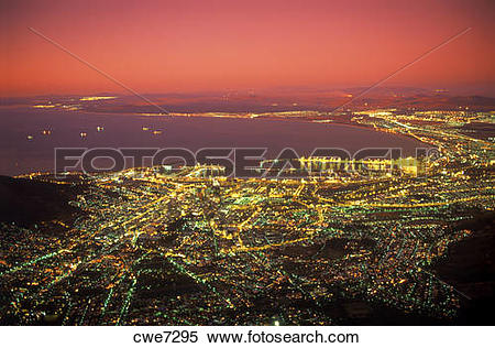 Stock Image of Cape Town and Table Bay at twilight from Table.