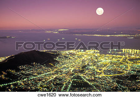 Stock Photography of Overview of Cape Town and Table Bay from.