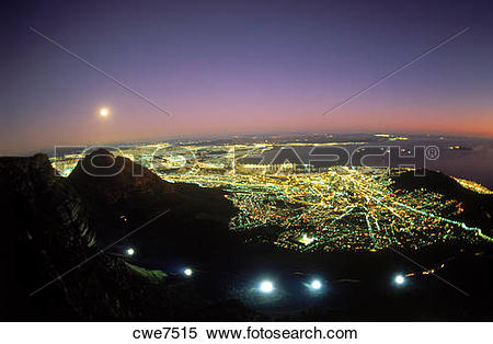 Stock Image of Moon over Cape Town and Table Bay at twilight from.