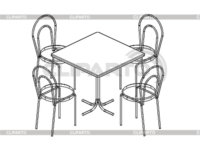 Dinner Table Black And White Clipart.