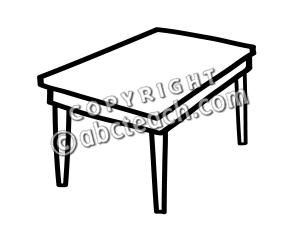 Table Black And White Clipart.