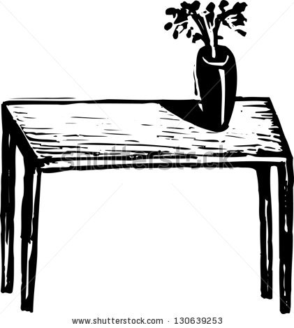 On The Table Clipart Black And White.