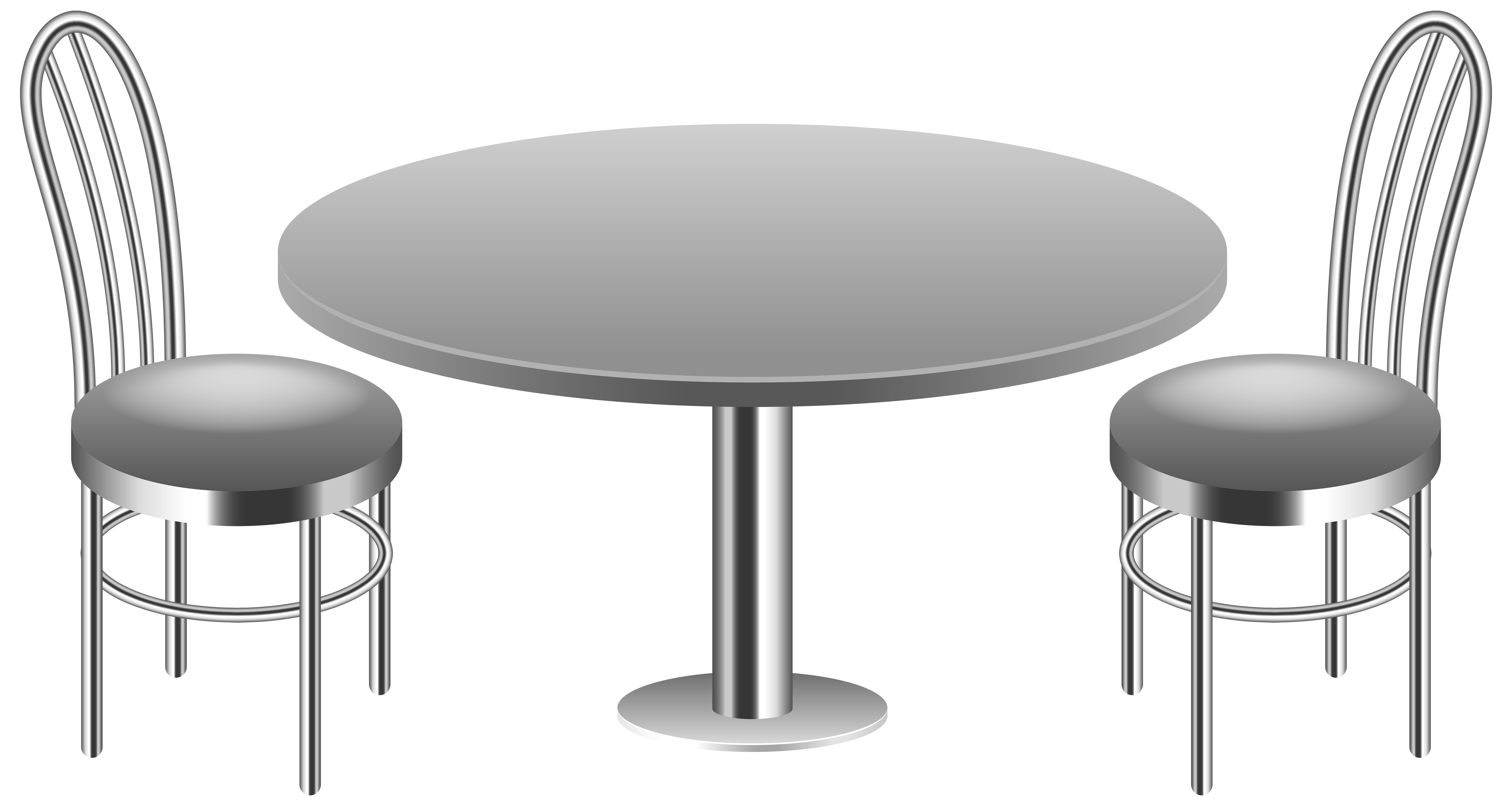 Table with Chairs Transparent PNG Clip Art Image.