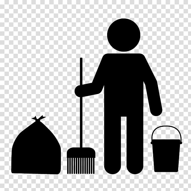 Janitor Cleaner Table Computer Icons , Illustration black.