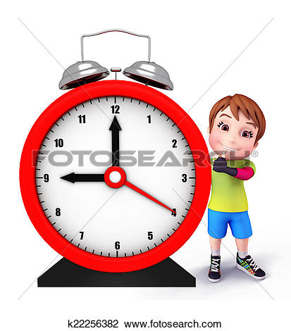 Clip Art of Cute kid with table clock k22256382.