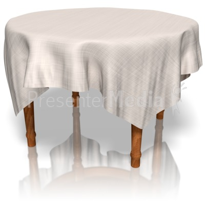 Table with table cloth clipart.