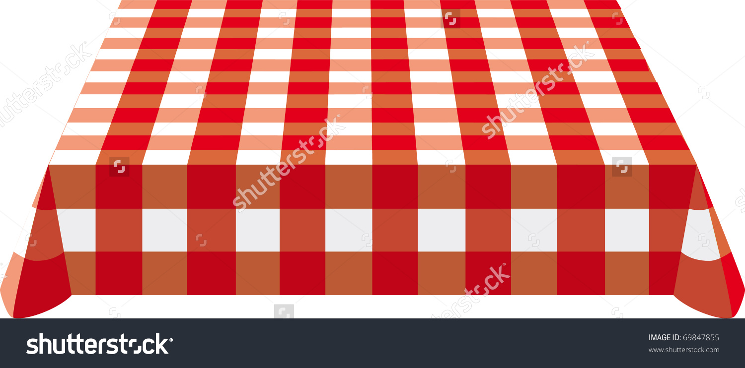 Table Cloth Red White On Table Stock Vector 69847855.